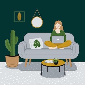 행복한 여성이나 소녀가 노트북 작업을 하고 소파에 앉아 있습니다. 프리랜서, 집 개념에서 일합니다. 방의 현대적인 인테리어입니다. 평면 스타일 벡터 일러스트 레이 션.