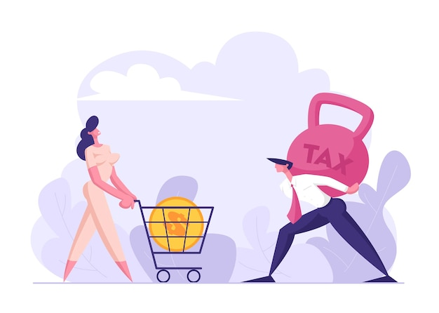 Happy woman pushing shopping cart with big golden dollar coin flat illustration
