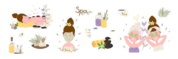 Счастливая женщина, расслабляющаяся в спа-центре с плоским набором иллюстраций
