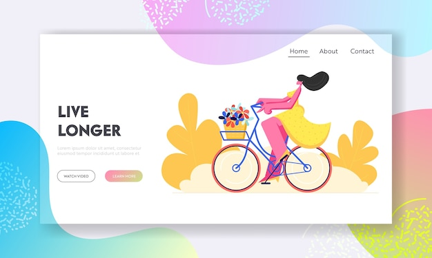 Happy woman riding bicycle with flowers in basket.