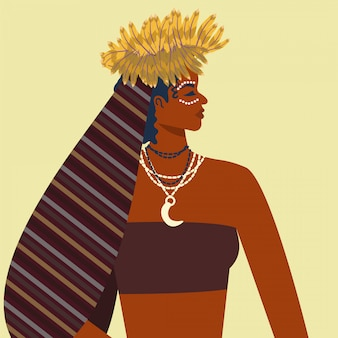 Happy woman's day. traditional outfit girl with feather crown. papua girl illustration.