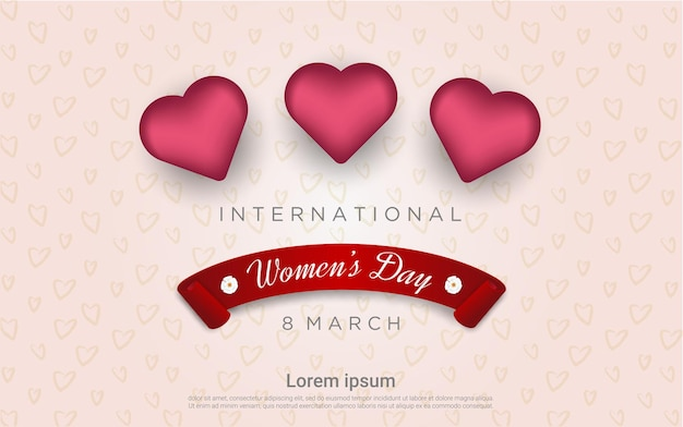 Happy woman's day with 3d balloos
