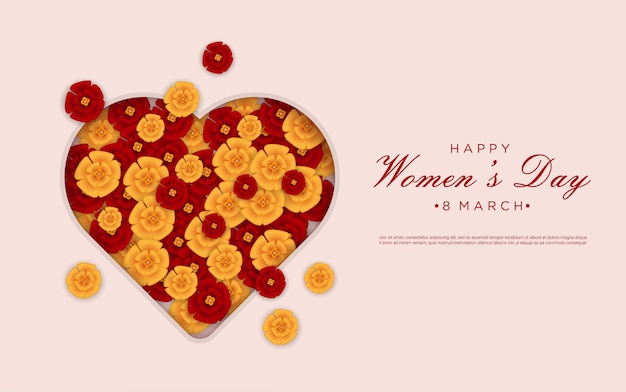 Happy woman's day with floral on love paper cut