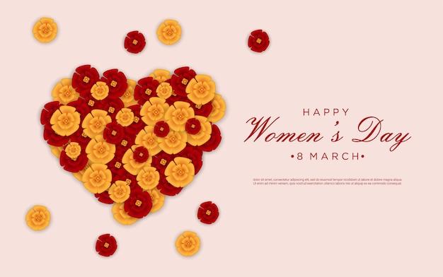 사랑 꽃과 함께 행복 한 여성의 날