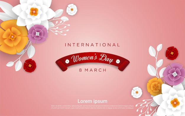 Happy woman's day with realistic floral