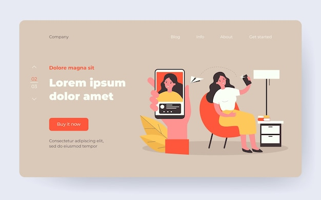 Happy woman sending selfie to friend. user taking and sharing self picture flat vector illustration. online communication, social media concept for banner, website design or landing web page