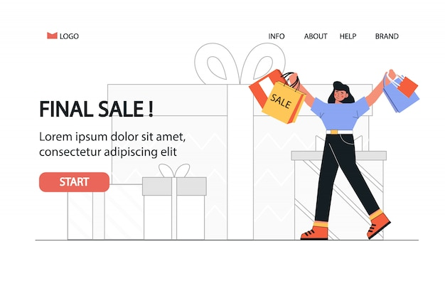 Happy woman shopaholic with shopping bags is going from shop web template