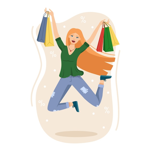 幸せな女性の買い物、成功した買い物の後の女の子のジャンプ、ベクトル図
