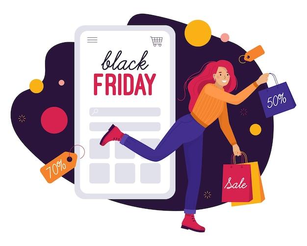 ブラックフライデーにオンラインショッピングをする幸せな女性。スマートフォンでの秋の割引とセール。