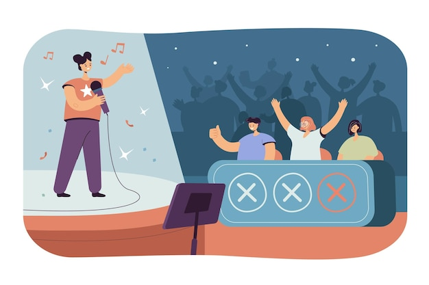 Happy woman singing at tv talent show in front of jury celebrities isolated flat illustration