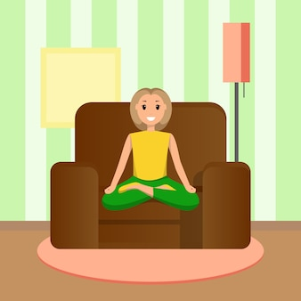 Happy woman sits lotus position, doing home sport