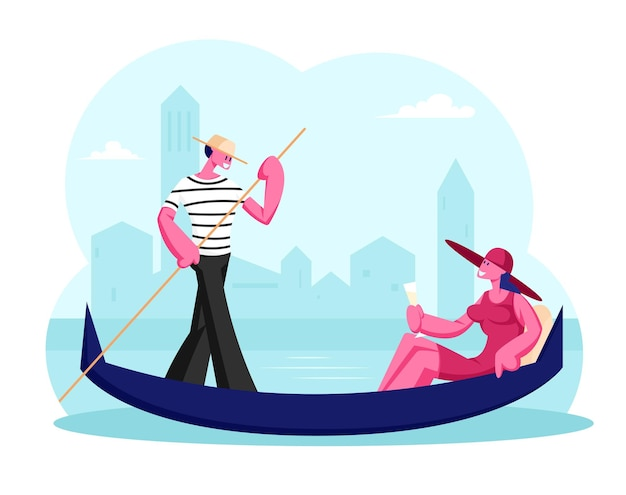 Счастливая женщина, сидящая в гондоле с бокалом шампанского в руке, человек гондольер, плавающая лодка на канале в венеции. мультфильм плоский иллюстрация