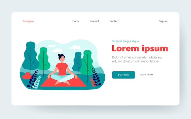 Happy woman sitting in lotus pose on nature flat vector illustration. cartoon character doing yoga in forest for balance in daily lifestyle. physical health treatment and fitness concept