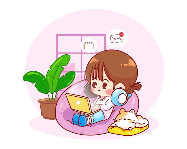 Happy woman sitting with laptop on bean bag chair, work from home character hand drawn cartoon art illustration