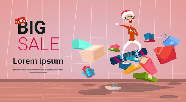 Happy woman on snowboard big holiday new year sale shopping