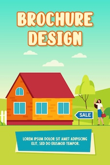 Happy woman standing near house for sale brochure template