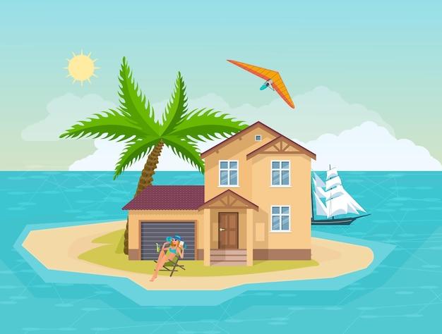 해변 여름 휴가에 일광욕 하는 행복 한 여자. 바다로 둘러싸인 섬의 해변 빌라 하우스. 야자수, 태양, 요트 선박, 파라 플랜 활동 만화 벡터가 있는 열대 이국적인 풍경