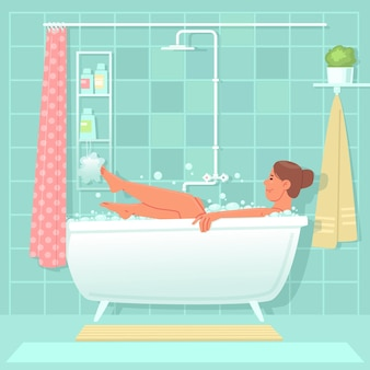 행복한 여자는 욕실에서 소금과 거품으로 목욕을 합니다. 매일 위생 절차. 평면 스타일의 벡터 일러스트 레이 션