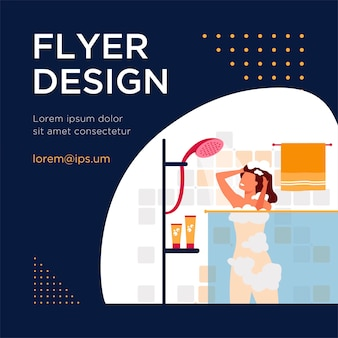 Happy woman taking shower or bath flat flyer template