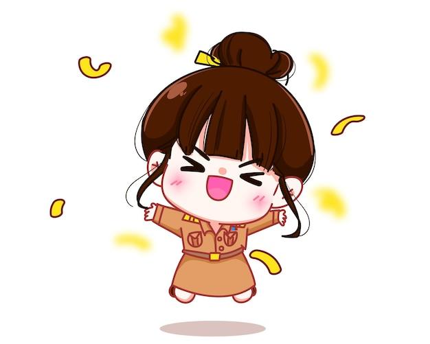 Insegnante donna felice in uniforme governativa che salta pugni in alto alzati urlando illustrazione di arte del fumetto del personaggio