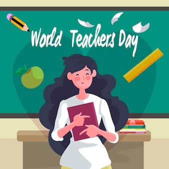 Happy woman teaching illustrated