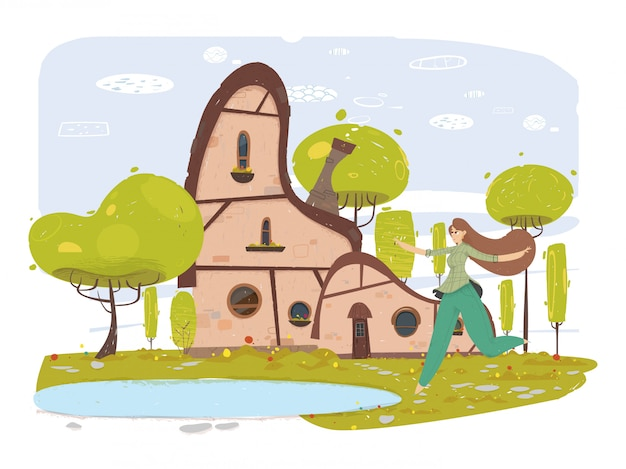 Happy woman in traditional clothes in yard cartoon