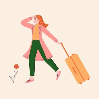 荷物のイラストと一人で幸せな女性旅行者