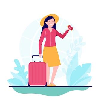 Счастливая женщина, путешествующая в другую страну