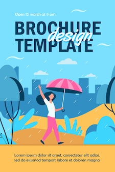 Happy woman walking in rainy day with umbrella isolated flyer template