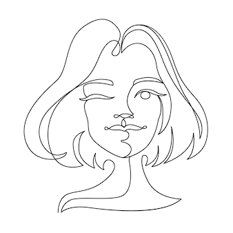 Happy woman winks one line art portrait. joyful female facial expression. hand drawn linear woman silhouette.