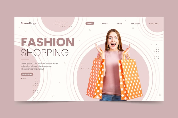 Happy woman with bags fashion sale landing page