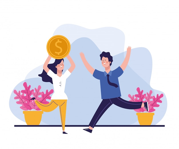 Happy woman with big money coin and man with plants in pots around