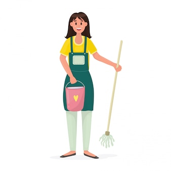 Happy woman with a bucket of water and a mop