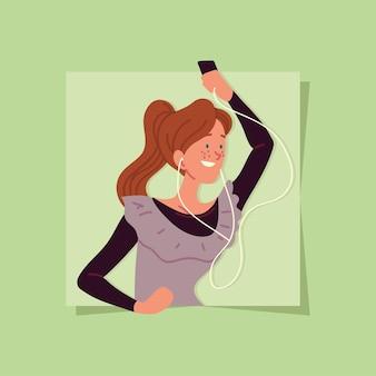 Happy woman with earphones