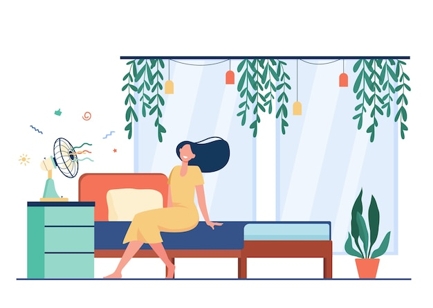 Happy woman with flying hair sitting at air fan, cooling in heat room. vector illustration for hot weather, summer, conditioning at home concept