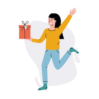 Happy woman with gift box. fun woman holding gift box with present, birthday party vector concept. character having festive event