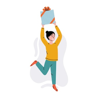 Happy woman with gift box fun woman holding gift box with present birthday party vector concept