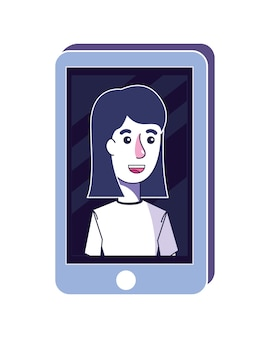 Happy woman with hairstyle in the smartphone technology