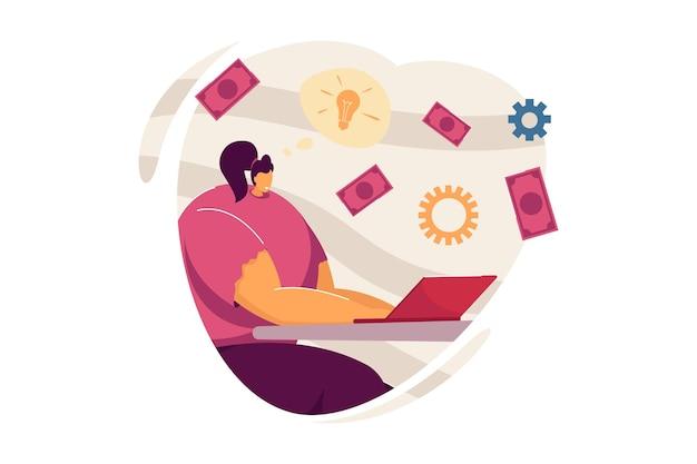 お金を投資するアイデアを持つ幸せな女性。ラップトップフラットベクトルイラストとテーブルに座っている女性キャラクター。スタートアップ、投資、バナー、ウェブサイトのデザインまたはランディングウェブページのフリーランスのコンセプト