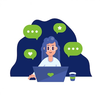 Happy woman with a laptop. freelance worker busy with talking. flat style modern illustration.
