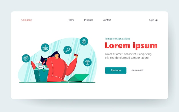 Happy woman with laptop ordering food. female with credit card in hand shopping online flat vector illustration. ecommerce, online food delivery concept for banner, website design or landing web page