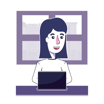 Happy woman with laptop technology and window