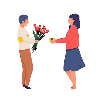 Счастливая женщина с подарочной коробкой и мужчина с букетом цветов обмениваются подарками, плоская изолированная иллюстрация