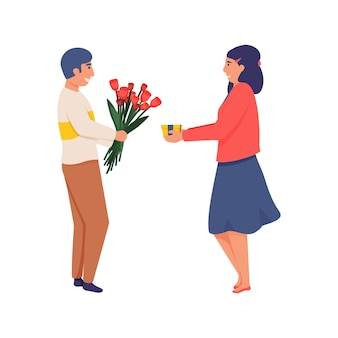 Happy woman with present box and man with bunch of flowers exchanging gifts flat isolated  illustration