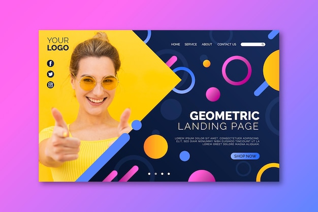Happy woman with sunglasses landing page