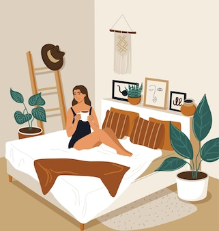 Happy woman woke up in the morning and drinks coffee. cartoon girl awakening in bedroom. vector illustration of the interior