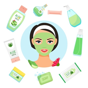 Happy womanl with facial mask surrounded by organic cosmetics