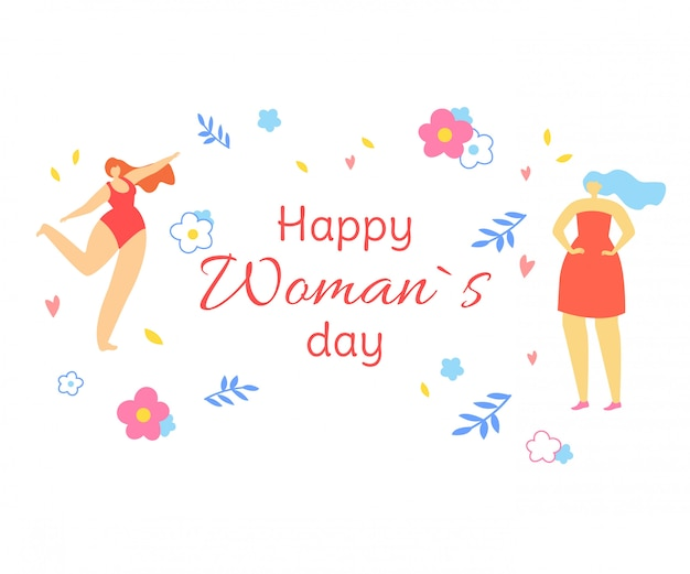 Happy womans day greeting card with girls dancing