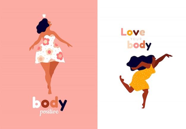 Счастливые женщины тело положительных вертикальных карт. люби себя, свой тип надписи на теле. иллюстрация свободы женщины, силы девушки или международного женского дня.