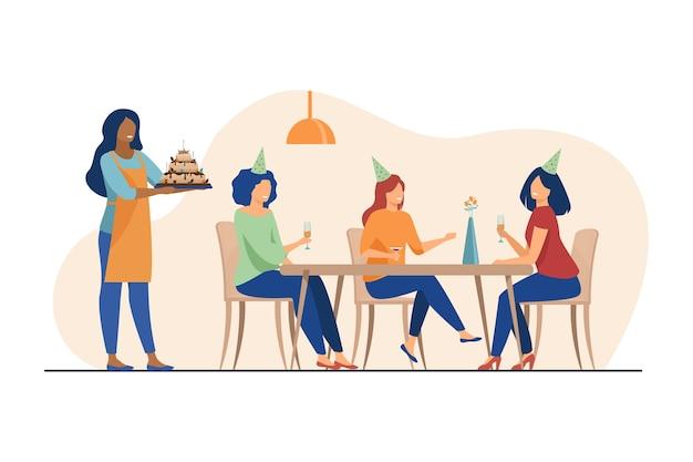 Счастливые женщины празднуют день рождения и пьют алкоголь. друг, торт, стеклянная плоская векторная иллюстрация. праздник и вечеринка